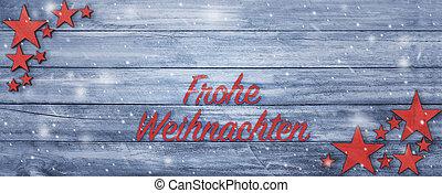 ドイツの テキスト, 挨拶, 木, テーブル, 旗, クリスマス