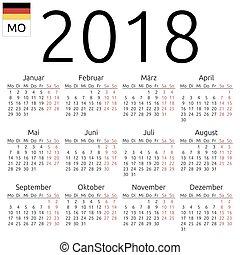 ドイツ語, カレンダー, 2018, 月曜日