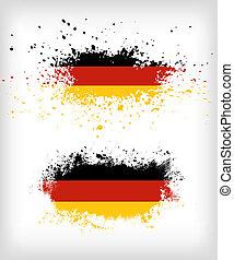 ドイツ語, グランジ, 旗, はね飛ばされる, インク