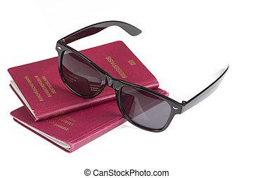 ドイツ語, パスポート, 旅行, サングラス