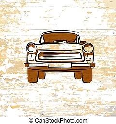 ドイツ語, 型, 木製である, 背景, 自動車, アイコン