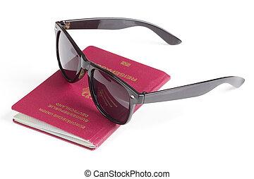 ドイツ語, 旅行, サングラス, パスポート