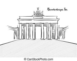 ドイツ語, 門, スケッチ, brandenburg, typo