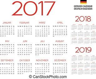ドイツ語, 2017-2018-2019, カレンダー, テンプレート