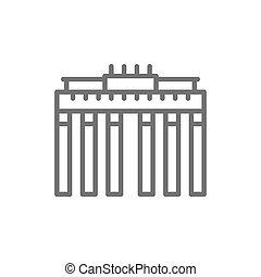 ドイツ語, brandenburg, ベルリン, ランドマーク, 線, icon., 門
