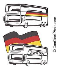 ドイツ語, flag., ベクトル, イラスト, バス