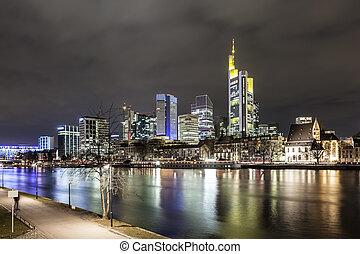 ドイツ, スカイライン, 本, frankfurt, 夜