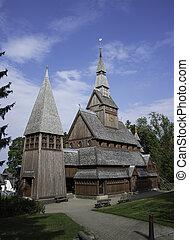 ドイツ, 教会, 古い, 棒, まったく, 木