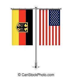 ドイツ, 旗, 一緒に。, アメリカ, 掛かること