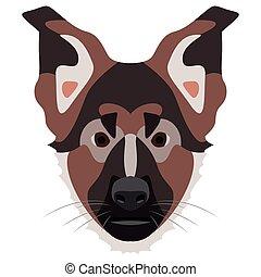 ドイツ 羊飼い, 犬, イラスト