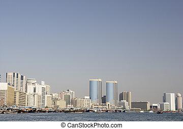 ドバイ, 建物, 入り江, 光景