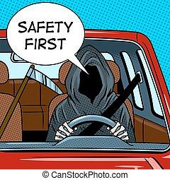 ドライブしなさい, 自動車, ベクトル, 刈り取り機, 厳格, ポンとはじけなさい, イラスト, 芸術