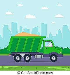 ドライブする, 背景, 道, トラック, に対して, city., 砂