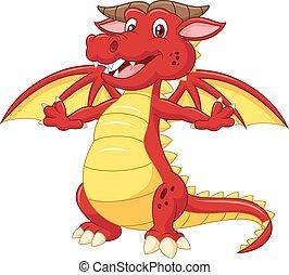 ドラゴン, かわいい, 隔離された, 漫画, 赤