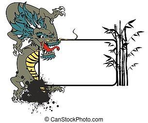 ドラゴン, アジア人, コピースペース, tattoo1