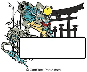 ドラゴン, アジア人, コピースペース, tattoo7