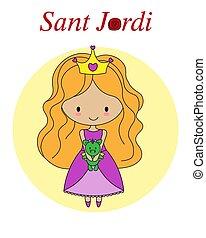 ドラゴン, カタロニア, 伝統的である, 王女, 祝祭, sant, spain., jordi, プラシ天