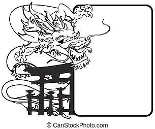 ドラゴン, コピースペース, アジア人, tattoo4