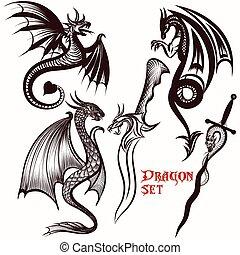 ドラゴン, セット, ベクトル, デザイン, 入れ墨