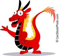 ドラゴン, ベクトル, 背景, illustartion, 白, 漫画, 赤