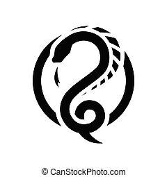 ドラゴン, ラウンド, シンボル。, ロゴ, ヘビ