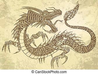 ドラゴン, 入れ墨, ベクトル, henna, いたずら書き