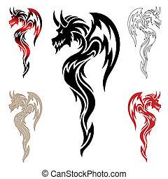 ドラゴン, 入れ墨, 種族, ベクトル