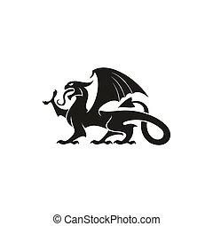 ドラゴン, 獣, 隔離された, 動物, gryphon, 紋章学