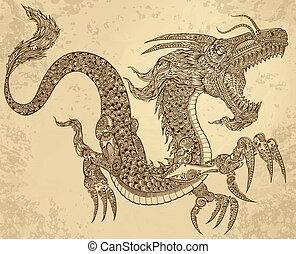 ドラゴン, 種族, ベクトル, 入れ墨, henna