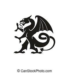 ドラゴン, 隔離された, 獣, 紋章学, gryphon, 動物
