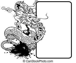 ドラゴン, tattoo3, アジア人, コピースペース