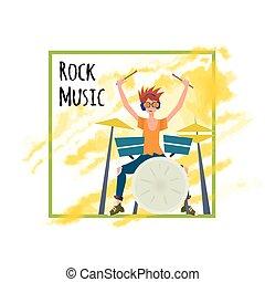 ドラム, イラスト, ポスター, set., 若い, musician., 隔離された, バックグラウンド。, ベクトル, ドラマー, 白, 人, 遊び, テンプレート