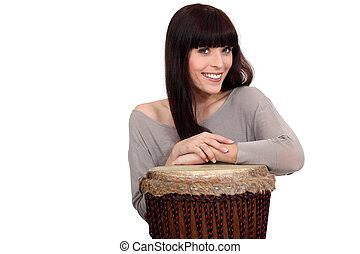 ドラム, 女, ポーズを取る, 彼女