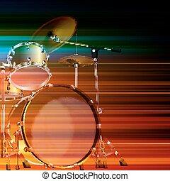ドラム, 抽象的, グランジ, 背景, キット