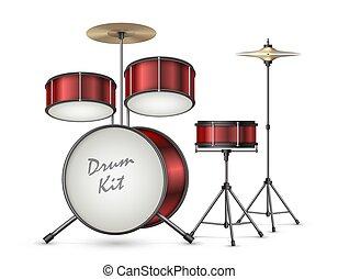 ドラム, 現実的, 道具, キット, 打楽器, ベクトル