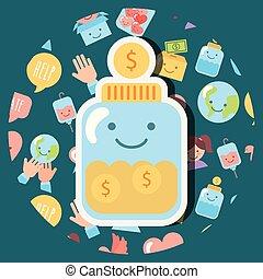 ドル, お金, ガラス, コイン, ジャー, 慈善, kawaii
