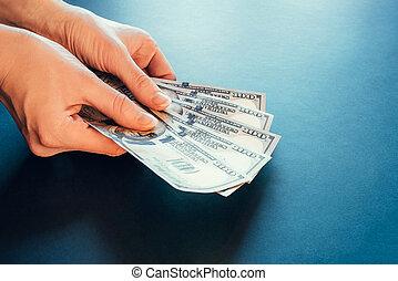 ドル。, アメリカ人, 手。, 現金, hundred-dollar, ビルズ