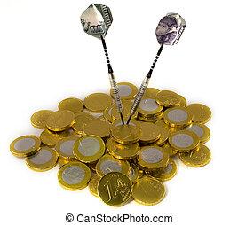 ドル, ターゲット, ユーロ, さっと動く, coi, 100