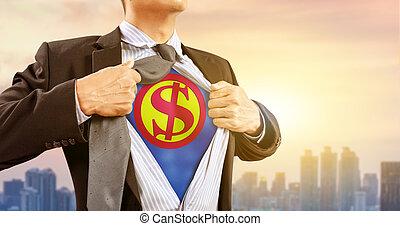 ドル, ビジネスマン, superhero, 衣装, 印
