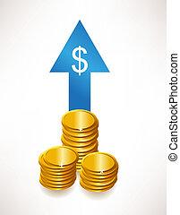 ドル, レート, 概念, お金。, 成長