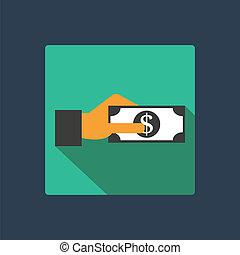 ドル, 中に, 手, アイコン
