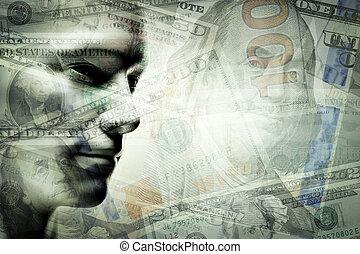 ドル, 人間の顔, ダブル, 人, exposure.