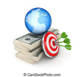 ドル, 大きい, さっと動く, globe., パック