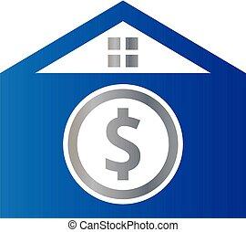 ドル, 封筒, イラスト, ベクトル, デザイン, 家, ロゴ, アイコン
