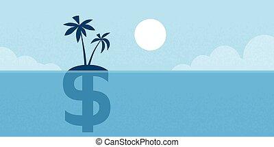 ドル, 島, 印, 沖合いに, イラスト, 概念, 平ら