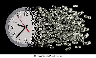 ドル。, 時計, concept., お金。, 時間, ばらばらに壊れる