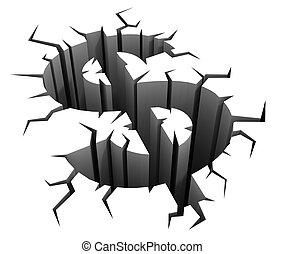 ドル, 概念, 衝突, 3d