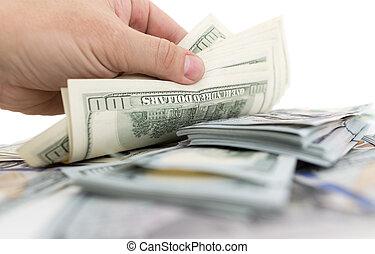 ドル, 白い背景, 手