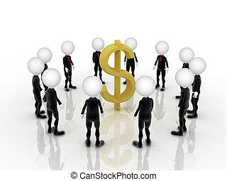ドル, 私達, 印, 中央, チームワーク, ビジネスマン, 3d