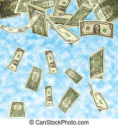 ドル, 空, 隔離された, 曇り, 背景, 秋